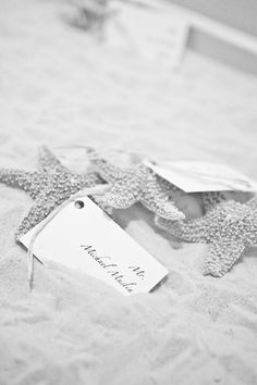 Starfish table place cards. They were in a sandbox.