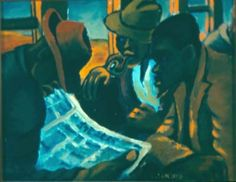 In the Orlando train, Gerard Sekoto. This oil painting could be called A Study in Browns. It depicts three men in the dark interior of a railway coach . Gerard Sekoto, South Africa Art, Contemporary African Art, Neo Expressionism, Alberto Giacometti, South African Artists, Dark Interiors, Henri Matisse, Black Art