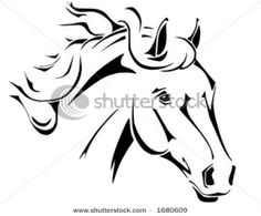 Tribal horse head design, perfect for logo or tattoo, vector in .eps format by E. Spek, via Shutterstock Horse Head, Horse Art, Horse Skull, Tribal Horse Tattoo, Horse Tattoos, Horse Stencil, Horse Silhouette, Silhouette Tattoos, Wood Burning Patterns