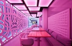 Barrisol is a highly innovative company and their ingenuous stretch and light ceilings are incredible. Bar Interior Design, Restaurant Interior Design, Cafe Interior, Interior Exterior, Cafe Design, Textured Wall Panels, Decorative Wall Panels, 3d Wall Panels, Rosa Pink