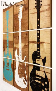 Custom Guitar Art on Natural Wood Panels - You pick guitar design and color by RightGrain on Etsy