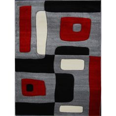 Decorate in style with these contemporary elegant area rugs made of soft frieze Heat-Set yarn with hand-carving. The colors are a basic combination of Beige, black, red and grey that makes it easy to decorate with any furniture style.