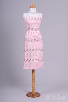 1950's Nat Kaplan Floral Wiggle Vintage Day Dress : Mill Crest Vintage