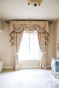 Debutante Austrian Swags Style Swag Valance Curtain Set Pink peony patterns on ivory cotton blend  http://www.celuce.com/p/468/austrian-swag-valances-curtain-drapes-debutante