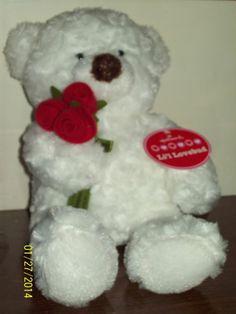 Hallmark Li'l Lovebud White Plush Bear Red Felt Roses NWT Valentines Teddybear