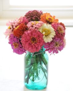 zinnias -- I love flowers and have them from the garden 4 months of the year. Zinnias are one of my presonal favorites! Summer Wedding Centerpieces, Wedding Flower Arrangements, Floral Arrangements, Fresh Flowers, Beautiful Flowers, Happy Flowers, Cut Flowers, Summer Flowers, Wedding Ideas