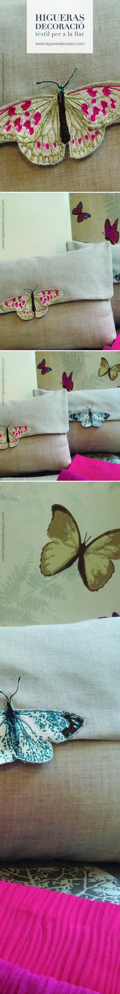 Las mariposas del estampado del papel pintado de la pared nos sirven como elemento decorativo de los cojines con solapa. Estancias repletas de detalles. www.higuerasdecoracio.com