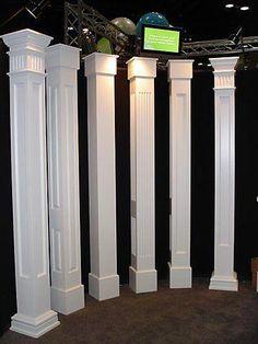 architectural pvc porch columns, this would fit over existing columns. architectural pvc porch columns, this would fit over existing columns. Architecture Renovation, Architecture Details, House With Porch, House Front, Front Porch Columns, Front Porch Posts, Front Porches, Interior Columns, Architectural Columns