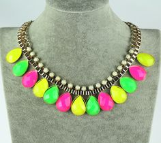 Candy color water drop fashion bib necklace ,shop at Costwe.com