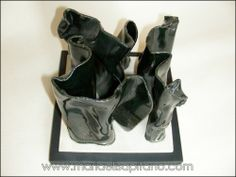 "Maria Elisa Pifano - Sculpture ""Black on black 2"" glazed stoneware"
