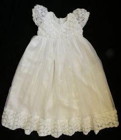 High Quality Off White  Rosette Net and Tulle Communion/Christening Dress 0- 24 months, Shipping time 8-12 days on Etsy, $65.00