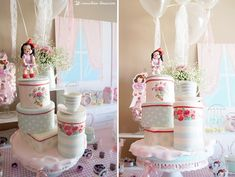 The cake for this vintage kitchen themed party with lots of Greengate tableware replics in cake
