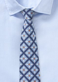 Mexico Tile Print Cotton Tie in Blue | Bows-N-Ties.com