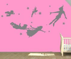 Peter pan wall decal Vinyl nursery kids teen girl decals flying tinkerbell wendy stars home house baby room decor Wall Sticker kid mural 915 on Etsy, $39.00