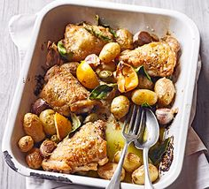 Pop chicken thighs and potatoes in one pot and roast with olives, lemon, garlic and bay leaves for a lazy weekend lunch or dinner