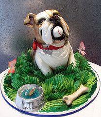 My Bulldog Cake sculpted as a bulldog. All edible bowl & bone add to the design. Birday Cake, Cake Art, Eat Cake, Puppy Dog Cakes, Doggie Cake, Fancy Cakes, Cute Cakes, Bulldog Cake, Best Cake Ever