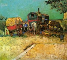 Encampment of Gypsies with Caravans - Vincent van Gogh. Completion Date: 1888 Place of Creation: Arles, France
