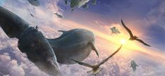 Flying whales by TiagoSilverio.deviantart.com on @DeviantArt