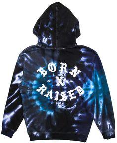 BORN X RAISED - ROCKER TIE-DYE HOODIE (BLACK) Tie Dye Hoodie, Black Hoodie, Hoodies, Clothing, Sweaters, T Shirt, Shoes, Fashion, Clothes
