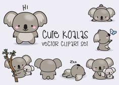 Premium Vector Clipart Kawaii Koala por LookLookPrettyPaper