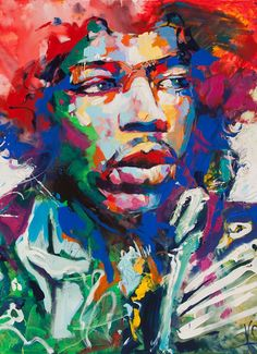 Hendrix painting by Artist Voka. The enormously popular Austrian artist Voka coined the term Spontaneous Realism to describe the dynamic creative process of his representational and impressionistic imagery. Large Painting, Painting Frames, Painting Prints, Painting Abstract, Painting Art, Pop Art, Framed Wall Art, Framed Prints, Rock Poster