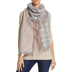 Aqua Pieced Side Fringe Scarf - 100% Exclusive ($46) ❤ liked on Polyvore featuring accessories, scarves, grey, fringe scarves, grey shawl, acrylic scarves, fringe shawl and grey scarves