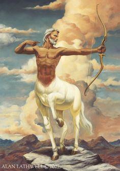 Centaur- Greek myth: a mans torso on the body of a horse in place of the head. They were either of a warrior class or teachers. Their behavior was so erratic because they were stuck between the animalistic world and human society.