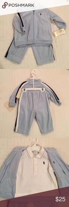 Ralph Lauren Velour 3 piece Warm Up Sz 9 Months Ralph Lauren Velour 3 piece Warm Up Size 9 Months (16-18lbs, 26 1/2-28- 1/2 inches) Resort Wear Line. Light blue velour pants and jacket with navy and white stipe on the side of both. White pique collared shirt too! Small stain (maybe washable?) on front of white shirt, shown in last photo. Super cute!! Ralph Lauren Matching Sets