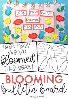 This beautiful bulletin board kit is perfect for the month of May or the end of the school year. Students reflect on how they've grown this school year while creating a spring flower. Craftivity and no prep versions included. Flower Bulletin Boards, Kindergarten Bulletin Boards, Summer Bulletin Boards, Classroom Bulletin Boards, April Bulletin Board Ideas, Classroom Displays, Classroom Organization, Classroom Decor, School Hallways