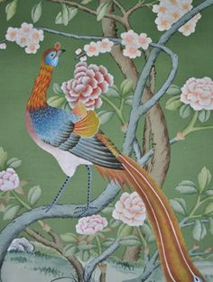 hand painted wallpaper :: chinoiserie wallpaper :: silk wallpaper :: chinese wallpaper :: hand painted silk wallpaper :: hand painted chinese wallpaper :: bespoke wallpaper and custom service