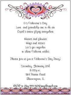 Imagenes De Valentines Day Dinner Party Invitation Wording