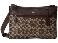 COACH Signature Coated Canvas Spencer Crossbody SV/Brown/Brown - Zappos.com Free Shipping BOTH Ways