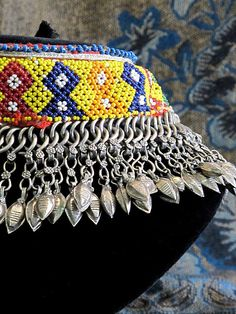 Beaded Kuchi Tribal Jewelry Choker with multiple double-sided vintage charm dangles.