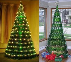 arboles de navidad reciclados hechos con botellas de vidrio