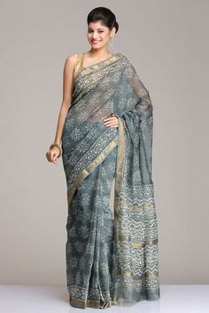 Beautiful Grey Maheshwari Saree With Floral Hand Block Print And Gold Zari Border