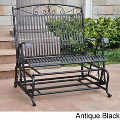 Spend a relaxing afternoon alone or with a loved one in this iron glider bench seat. This comfortable chair seats two people and works great in sunrooms or backyards. Its study construction allows it to be enjoyed for years.
