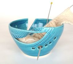 Ceramic Yarn Bowl Robin's egg turquoise, Yarn Crochet Bowl KNITTING bowl twisted leaves Yarn Organizer Handmade Pottery. $32.00, via Etsy.