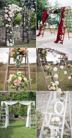 Exchange your vows under an original wedding arch made with ladders.