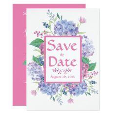 #white - #Pastel Hydrangeas - Pink-White Save-The-Date Card