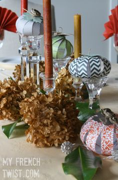 A no-fuss, simple Thanksgiving tablescape with dried hydrangeas and tiny paper pumpkins. With my Handmade Christmas challenge, I've been focusing on Christmas… Hosting Thanksgiving, Thanksgiving Centerpieces, Crafts To Sell, Fun Crafts, Paper Crafts, Pumpkin Topiary, Diy Outdoor Table, Christmas Challenge, Rustic Fall Decor
