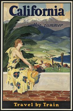 Jamaica - vintage travel poster California this summer. Travel by train Jersey: Only 90 Minutes from London Pretty Vintage travel poster Vin. Free Vintage Posters, Vintage Travel Posters, Retro Poster, Poster Ads, Print Poster, Art Print, Giclee Print, Vintage California, California Dreamin'