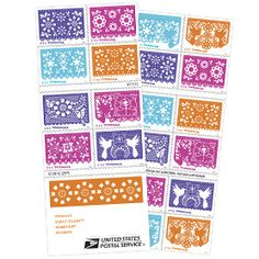 """Colorful Celebrations Papel picado, an intricate art form that was developed in Mexico, served as the inspiration for the stamp art. The Spanish term translates to """"pierced paper."""""""