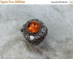 SALE Vintage Amber Ring,Silver Amber Ring,Poison Ring,Amber Poison Ring,Pill Box Ring,Vintage Poison Ring,Silver Poison Ring,Size 6 Ring by MasalaJewelry on Etsy
