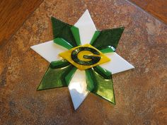 Fused Glass Green Packer Star Ornament/window hanging by kar3762, $24.00