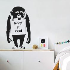 Banksy Monkey Keep it Real Wall Sticker Graffiti Art Vinyl Decal Decor