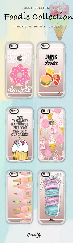 Top 6 Foodie iPhone 6 protective phone case designs | Click through to see more food iPhone phone case idea >>>https://www.casetify.com/collections/foodie#/ | @casetify