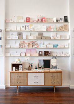 Beautiful Revelry - blog - Yes, Please: Shop Displays. Maybe use a vintage dresser below to store card packs?