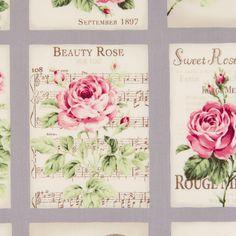 Bavlněná látka PANEL Růžičky pohlednice fialově šedé Rose for You Látka vhodná na patchwork a šití - ubrusy, závěsy, polštáře apod. 100% bavlna, š. 110 cm