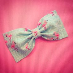 Pink flamingos on aqua blue water fabric hair bow by SplendidBee, $5.00
