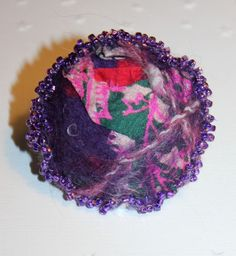 Handmade Purple green pink nuno felt silk & wool brooch pin - mothers day gifts £14.99